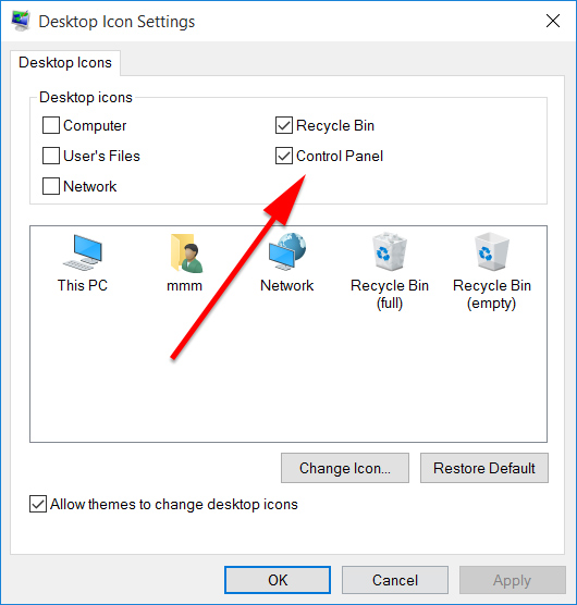 Windows 10 Desktop Icon Settings.