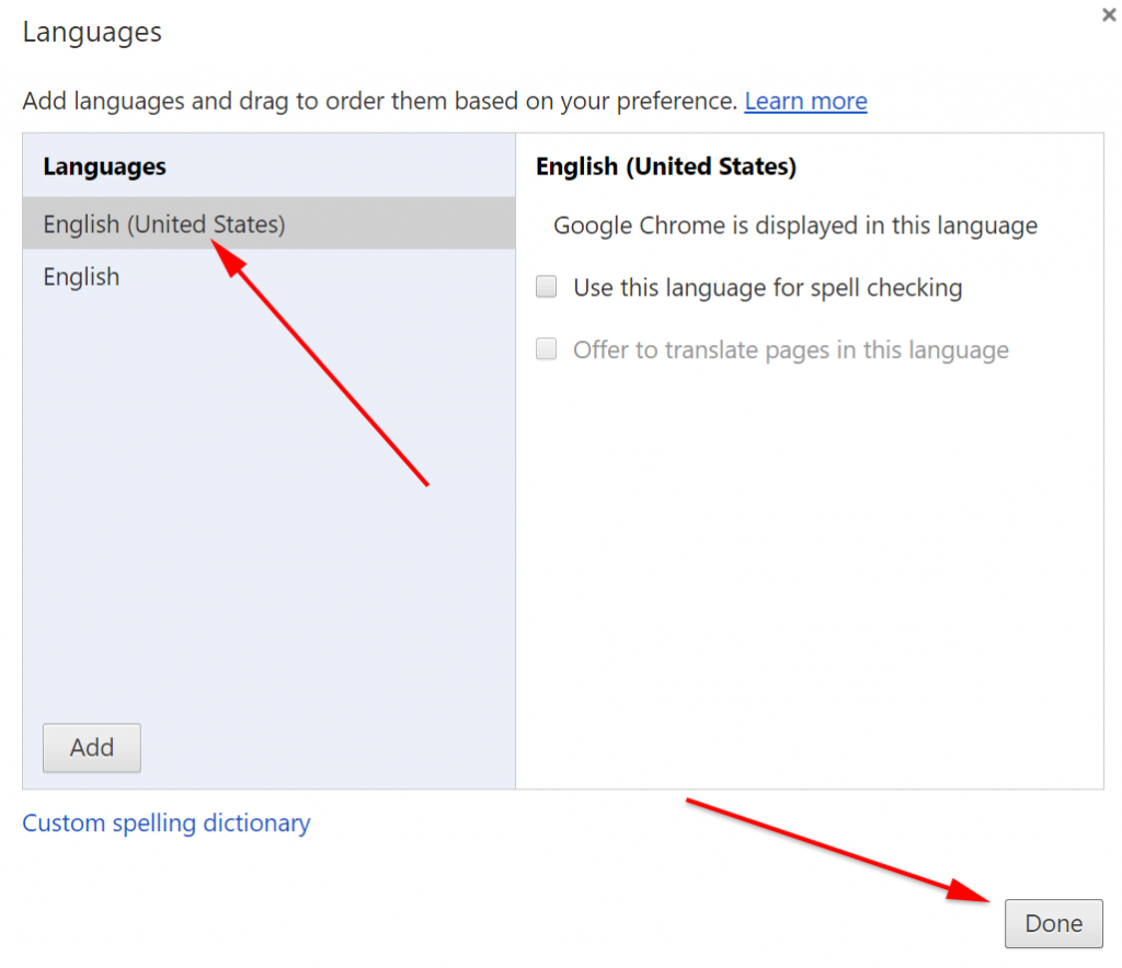 How to change google chrome language step 5